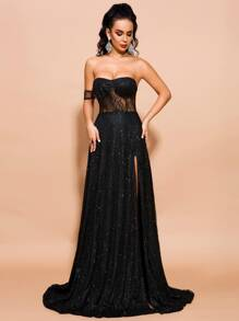 Missord Split Thigh One Shoulder Sequin Mesh Maxi Dress