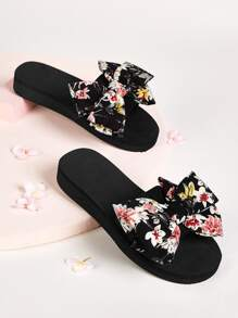 Floral Print Bow Decor Flats