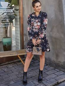 Large Floral Self Tie Tunic Dress