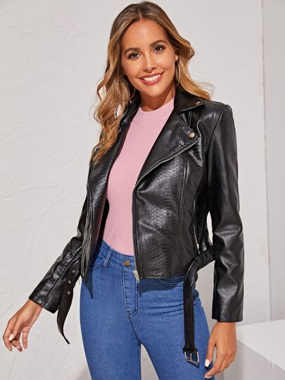 PU Zip Up Biker Jacket