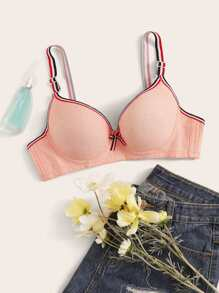 Striped Trim Underwire Bra