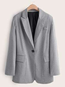 Single Button Houndstooth Blazer