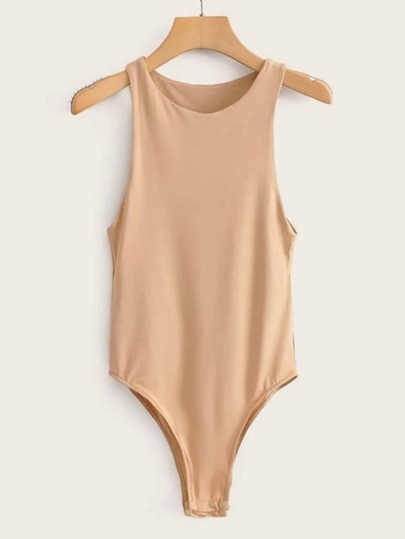 Solid Button Hem Tank Bodysuit