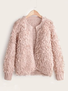 Open Front Loop Knit Cardigan