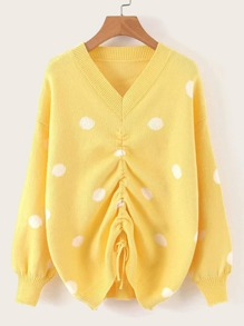 Drawstring Ruched Polka Dot Jumper