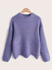 Asymmetric Hem Space Dye Ribbed Knit Jumper