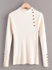 Button Detail Rib Knit Basic Jumper