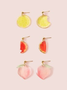 Lemon & Peach Drop Earrings 3pairs