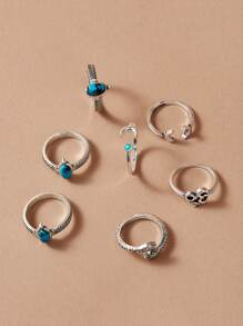 Turquoise Decor Ring 7pcs