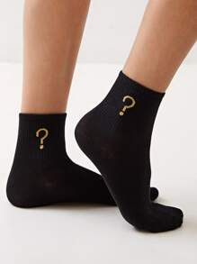Question Mark Pattern Socks 1pair