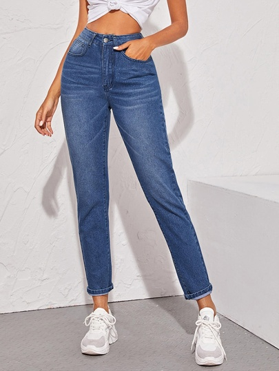 Button Fly Bleach Wash Jeans