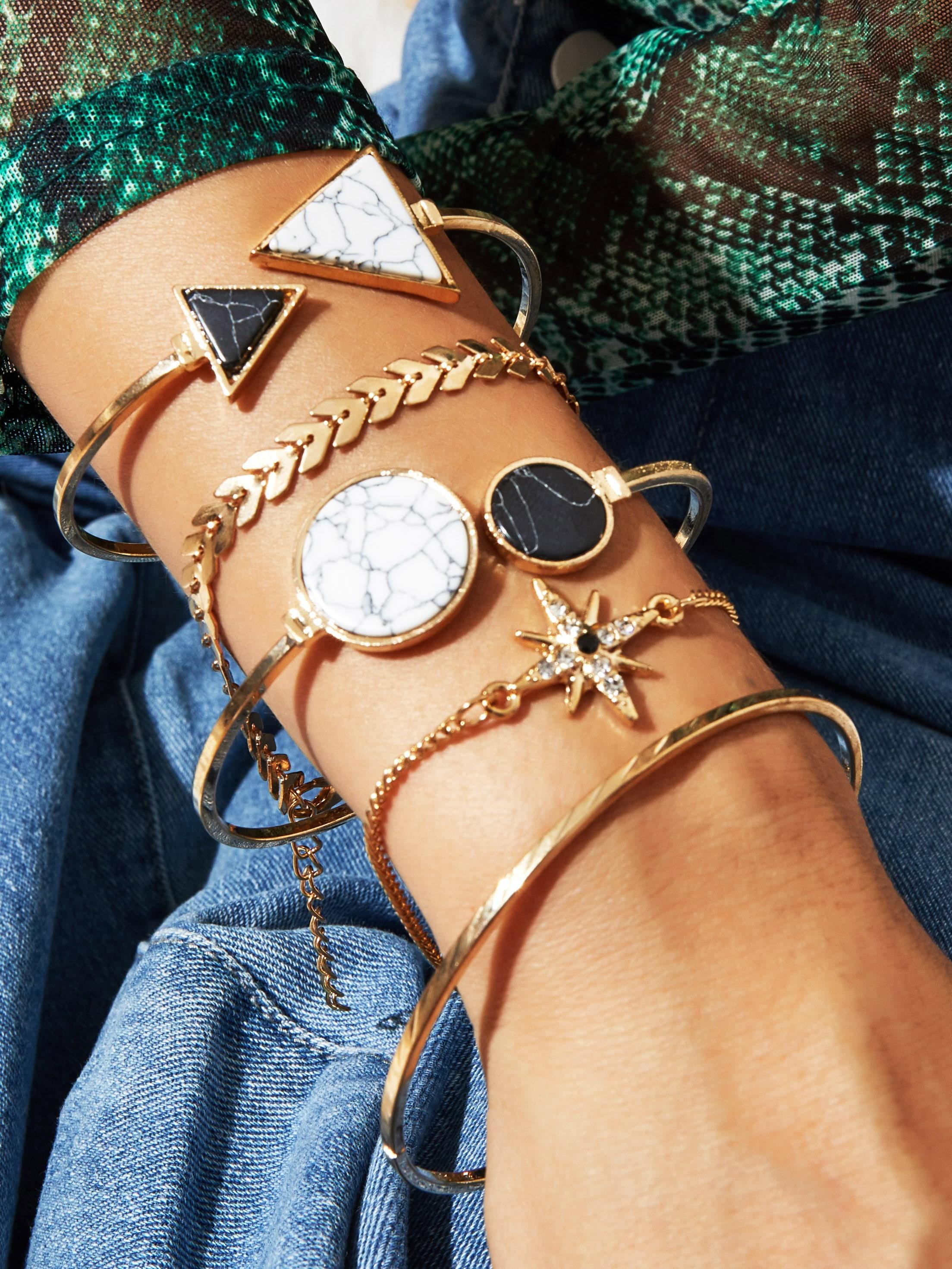 Marble Pattern Geometric Decor Bracelet Set 5pcs thumbnail