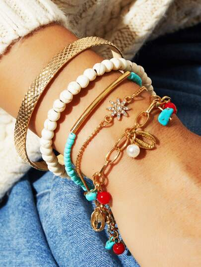 Dormann Star & Shell & Bead Detail Bracelet Set 5pcs