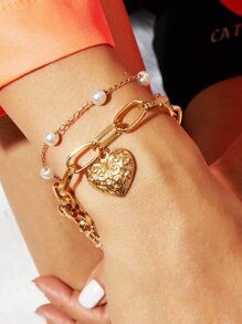Faux Pearl & Engraved Heart Decor Chain Bracelet 1pc