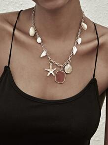 Starfish & Shell Charm Chain Necklace 1pc