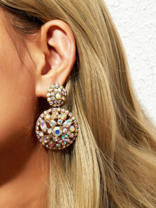 Rhinestone Engraved Round Drop Earrings 1pair