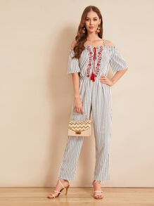 Tassel Tie Floral Embroidered Striped Jumpsuit