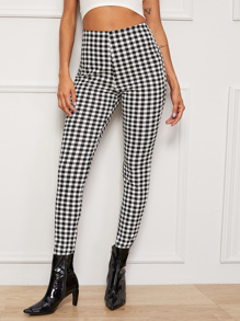 Gingham High Waist Skinny Pants