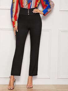 Button Front Zip Back Straight Pants