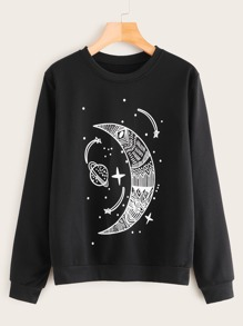 Moon & Star Print Round Neck Sweatshirt