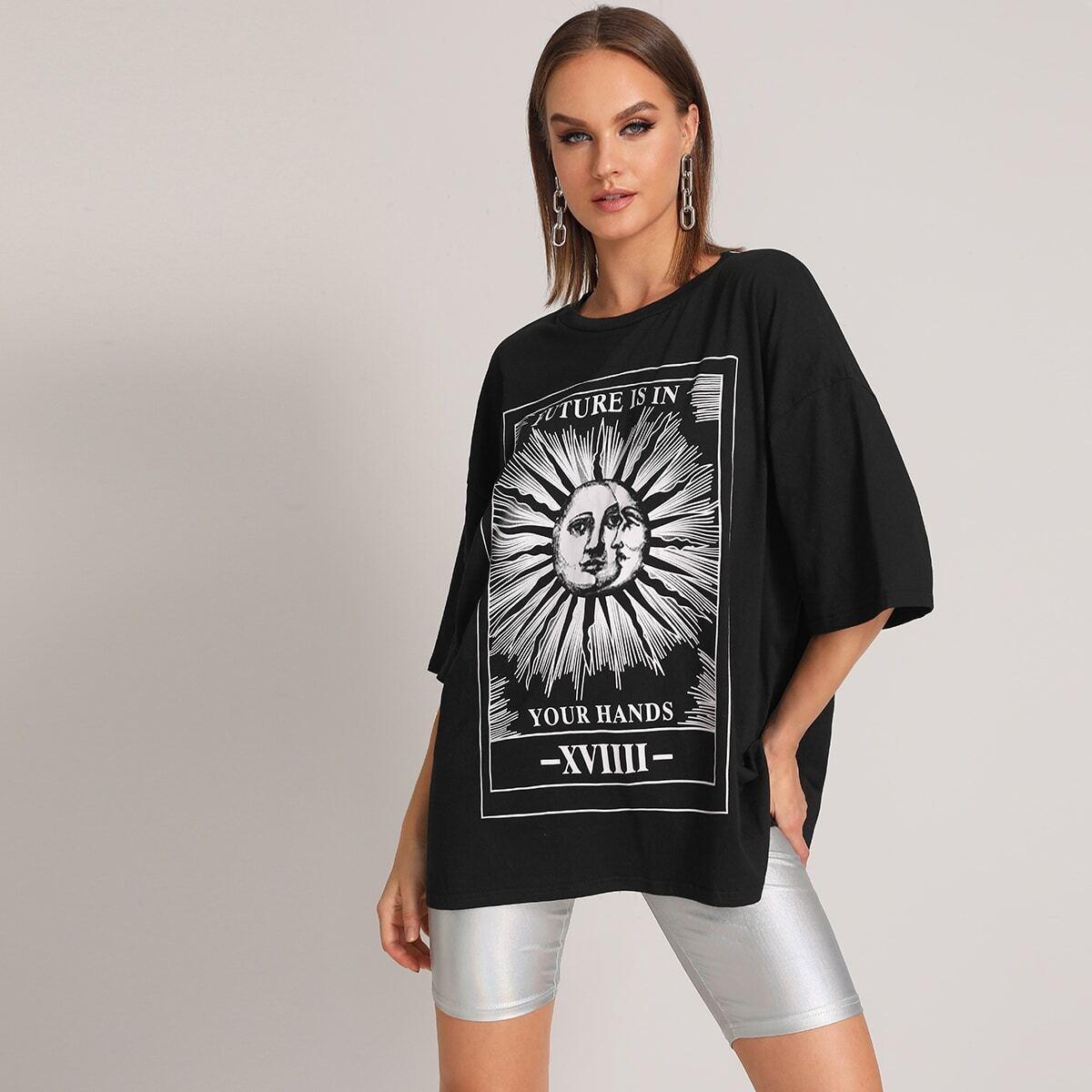 Zwart Casual Tekst T-shirts