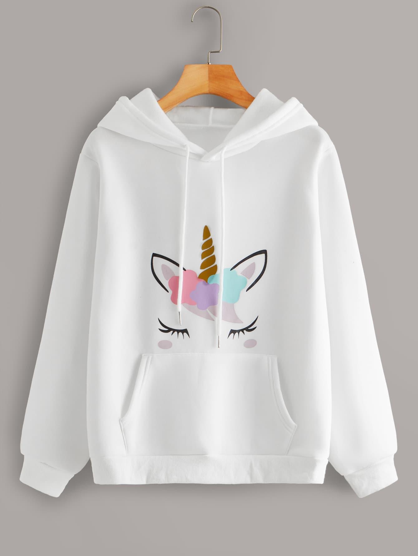 EnlaMorea Little Kids 3D Unicorn Print Pullover Hoodies with Pocket Hooded Sweatshirt Size 3-12