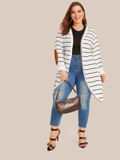 Plus Contrast Patched Striped Open Front Coat