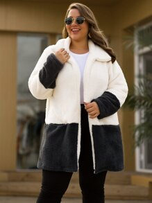 Plus Shearling Contrast Panel Open Front Teddy Coat