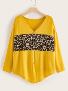 Plus Contrast Leopard Panel High Low Hem Sweater