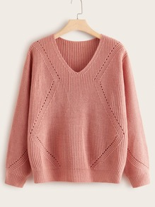 Plus V Neck Solid Ribbed Knit Sweater