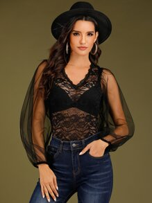 Sheer Lace Panel Mesh Sleeve Bodysuit Without Lingerie