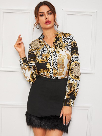Scarf And Leopard Print Notched Blouse
