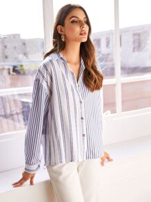 Vertical-striped Button Front Collar Blouse