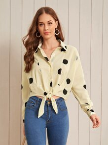 Polka Dot High Low Knot Hem Blouse