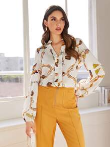Butterfly And Chain Print Notched Blouse