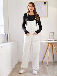 Contrast Topstitching Dual Pockets Overalls