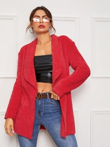 Shawl Collar Open Front Short Teddy Coat