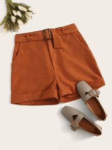 Corduroy Rolled Hem Square-ring Belted Shorts