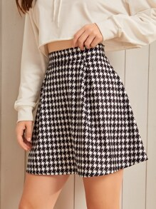 Tweed Houndstooth High Waist Skater Skirt