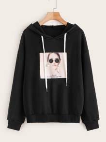 Figure Print Earrings Decoration Hoodie