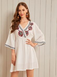 Floral Embroidery Surplice A-line Dress