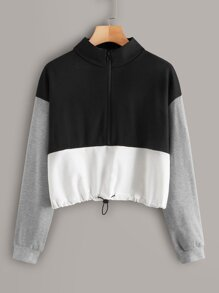 Cut And Sew Drawstring Hem Sweatshirt