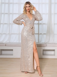 DKRX Plunge Neck Belted Split Thigh Sequin Prom Dress