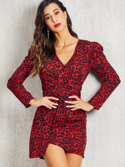 SBetro Leopard Print Gigot Sleeve Belted Dress