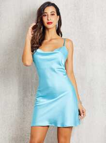 SBetro Draped Neck Satin Cami Dress