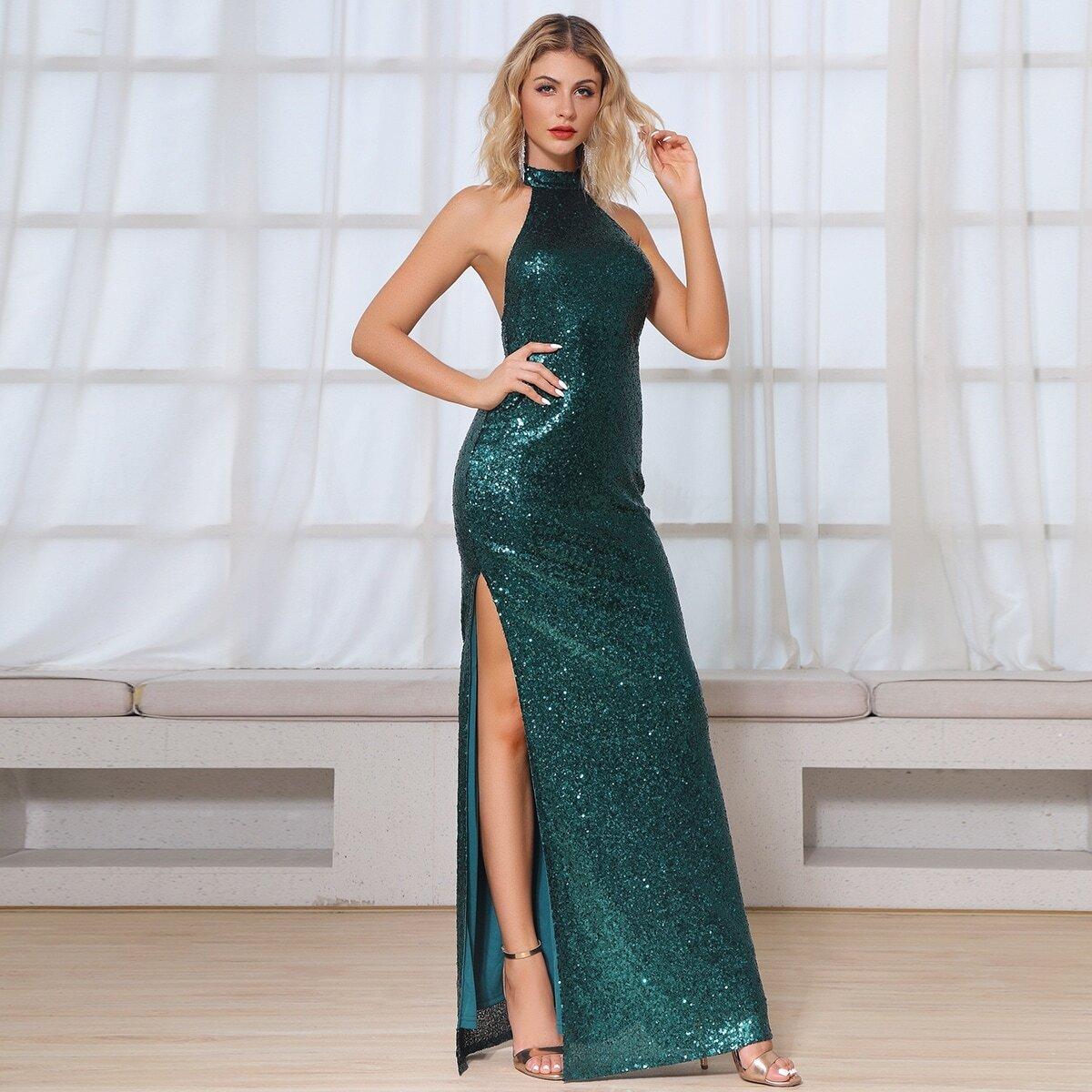 DKRX платье-халтер с открытой спинкой и блестками
