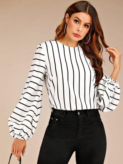 Striped Bishop Sleeve Keyhole Back Blouse