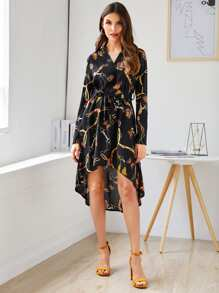 Chain Print Belted High Low Hem Dress