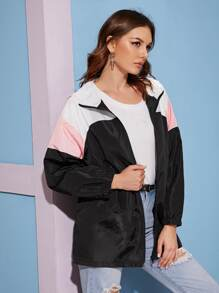 Contrast Panel Zip Up Windbreaker Jacket
