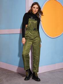 Buckle Strap Belted Pinafore Jumpsuit